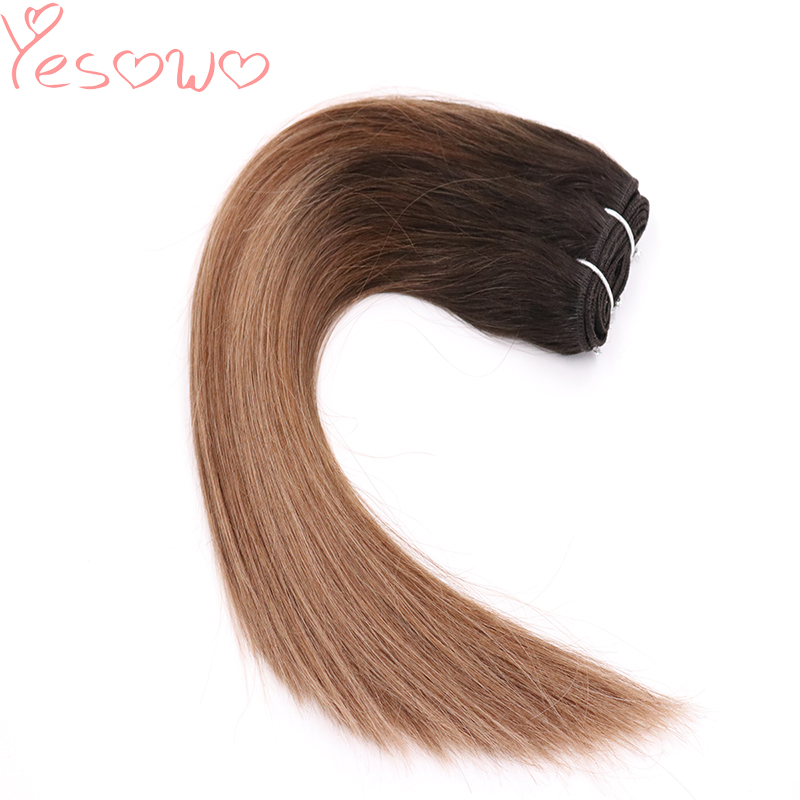 Yesowo Straight Dark Roots 1b/6/27# Ombre Hair Weaving Cuticle Aligned Raw Brazilian Virgin Human Hair Weave Bundles For Women