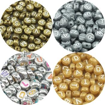 Cuentas acrílicas con letras de oro gris mezclado Vintage espaciador suelto cuentas redondas planas para fabricación de joyería DIY para niños nombre de la pulsera 4x7mm