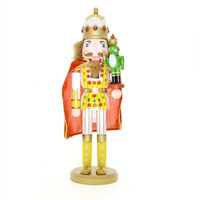 38cm Nutcrackers soldiers Wooden crafts the frog prince Nutcracker doll beautiful with Rhinestone Christmas Favors