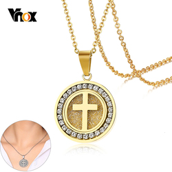 Vnox Fashion Cross with Bling CZ Stones Round Pendant Shinny Women Necklace Stainless Steel Trendy Jewelry