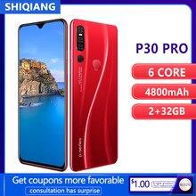 Shiqiang P30 Pro Mobiele Telefoon Android9.0 Ram 2Gb 32Gb Rom Smart Unlock Gezicht Id 6.3Inch 2 Sim kaarten Waterdrop Screen Mobiel