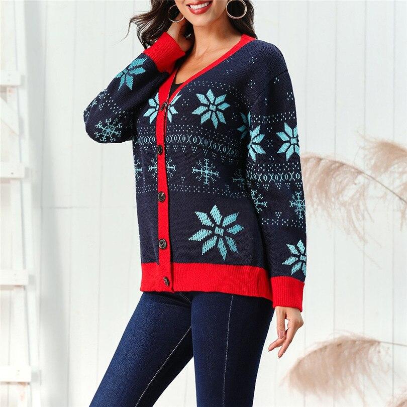 V-Neck Christmas Sweater Long Sleeve Cardigan Women Short Snowflake Print Kimono Cardigan Casual Pull Femme Nouveaute 40OCT214