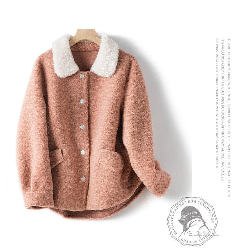 Petites particules fines mouton cisaillement chaud manteau femme nouveau hiver 2019 femmes veste en laine fabricants