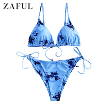 ZAFUL Women Tie Dye Padded String Bikini Swimsuit Wire Free Spaghetti Straps Triangle Bikini Removable Padded Tie Side Swimwear zaful bikini new padded spaghetti straps bikini set cami string bralette bathing suit swimwear brazilian swimsuit women biquni