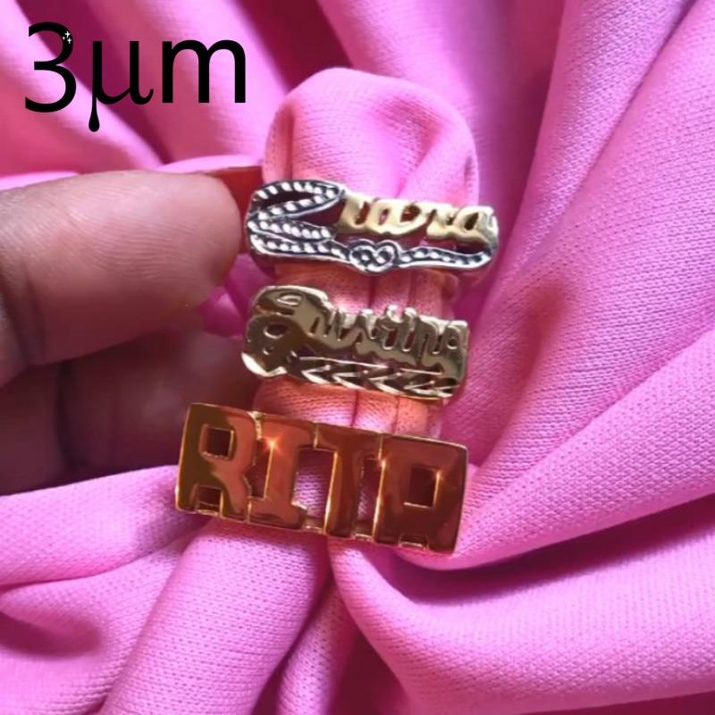 3UMeter numéro nom anneau Menring anneau personnalisé Zirkonia personnalisé bague en argent Sterling or Rose avec nombre cadeaux personnalisés