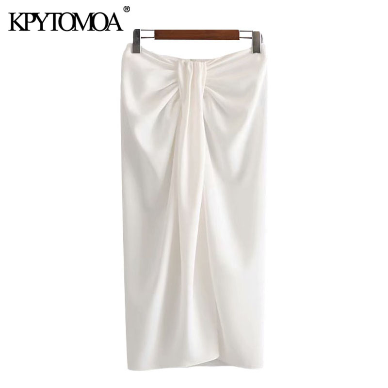 KPYTOMOA Women 2020 Chic Fashion Office Wear Knotted Wrap Midi Skirt Vintage High Waist Back Zipper Female Skirts Faldas Mujer
