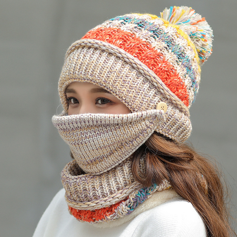 HT2638 Women Autumn Winter Hat Scarf Thick Warm Knitted Hat Scarf Mask 3PCS Set Ladies Windproof Hat Scarf Set Balaclava Hat