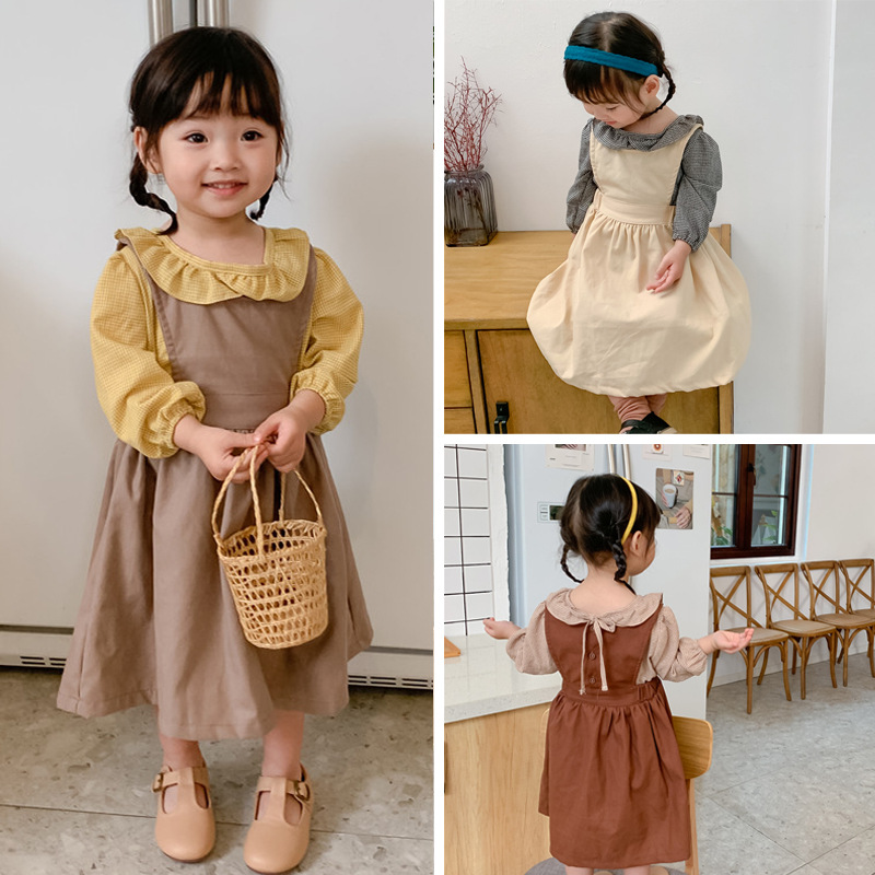 2020 Spring Girls Dress Girls' Pure Cotton Back Belt Dress Girl Baby Back Button Dress Girls Dresses For Party And Wedding