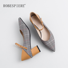 ROBESPIERE Large Size Mary Janes Shoes Women Sexy V Mouth Pointed Toe Office Pumps Quality Cow Leather Med Heels Lady Shoes A113 doratasia 2018 large size 30 47 candy colors square heels mary janes women shoes woman pumps date girls pumps shoes