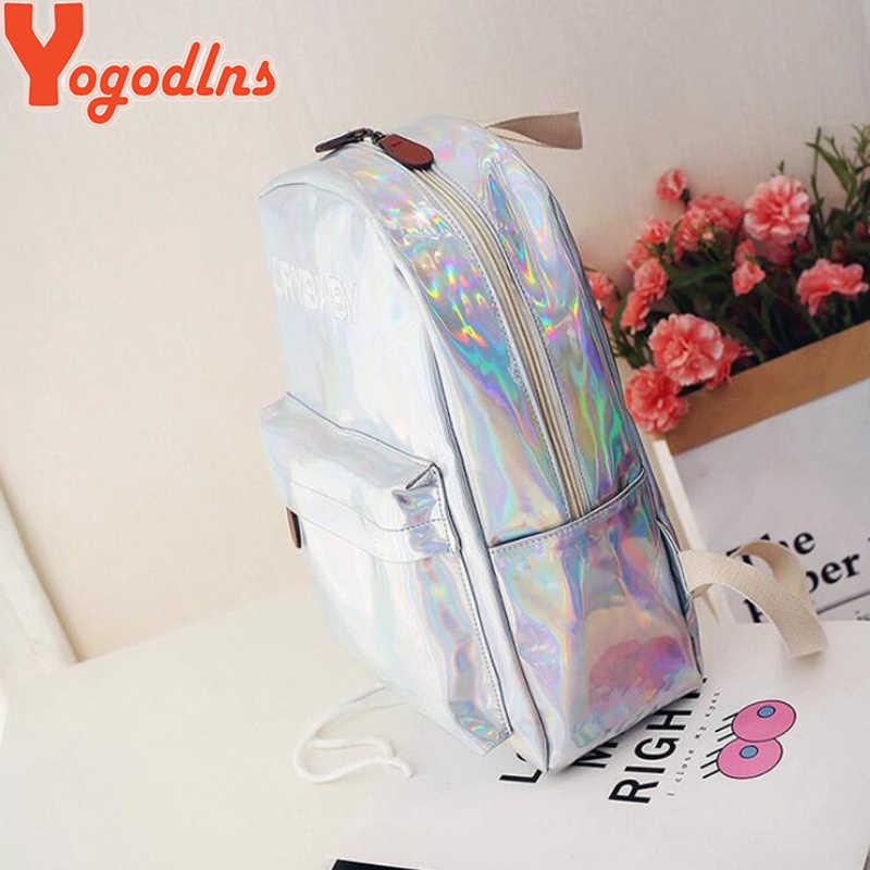 Yogodlns Vrouwelijke Holografische Rugzak Vrouwen Soft Laser Pu Lederen Travel Packbags Zilver Hologram Schooltassen Voor Tiener Meisjes