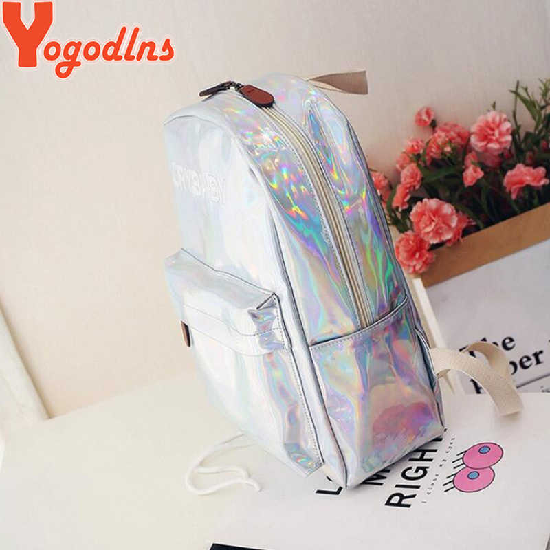 Yogodlns żeński plecak holograficzny kobiety miękki Laser PU skórzane torby podróżne srebrny Hologram szkolne torby dla nastolatków dziewcząt