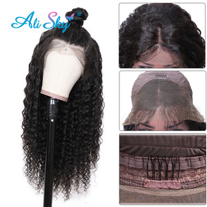 Image 2 - 정면 레이스와 페루 딥 웨이브 가발 흑인 여성을위한 전면 인간의 머리 가발 레미 헤어 곱슬 인간의 머리 가발 hd 레이스 정면