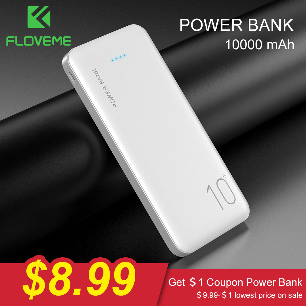 FLOVEME Power Bank 10000mAh Portable Charger For Samsung Xiaomi Mi Mobile External Battery Powerbank 10000 MAh Poverbank Phone