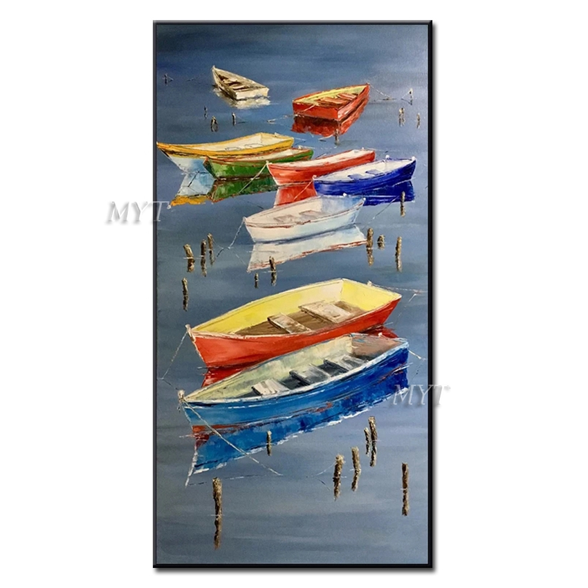 Frameless Handmade Amazing Art <font><b>Knife</b></font> Oil Paintings on Canvas Yellow Sunrise Light Bloom Sea Landscape Painting <font><b>Boat</b></font> Picture image