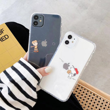 Simple cartoon Charlie Brown Puppy transparent phone case For iphone 7 8 Plus X XR XS MAX 11pro 11 Pro Max soft TPU back cover simple cartoon anime puppy phone case for iphone xs max xr 6 6s 7 8 plus candy soft tpu back cover puppy wireless earphone case