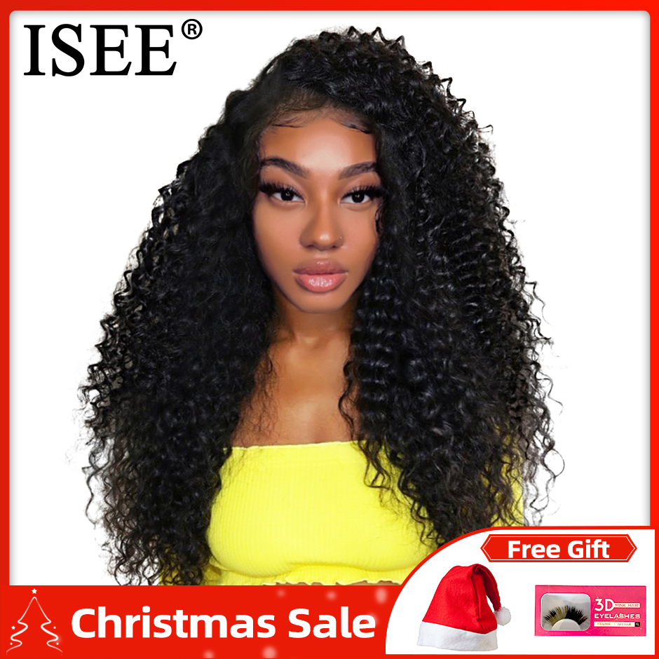 Kinky Curly Human Hair Wigs 150% Density 13x4 Peruvian Human Hair Wigs Natural Color Remy ISEE HAIR Lace Front Human Hair Wigs