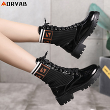 Women Shoes Patent Leather Ankle Boots for Women Fashion Black High Top Shoes Woman Spring Autumn Martin Boots Winter Sock Boots