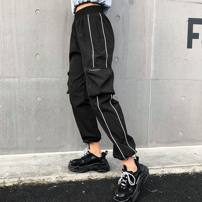 Fashion Harajuku Casual Black Cargo   Pants   Women Stripes Elastic High Waist   Pants     Capris   Streetwear Multi-pocket Elastic Overalls