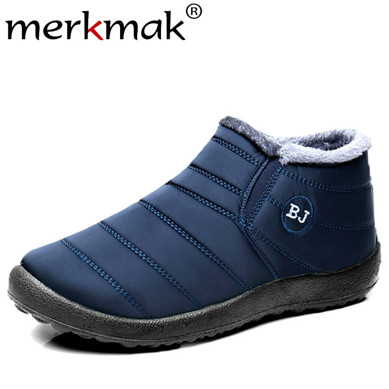 Merkmak 2019 New Winter Men Shoes Fashion Warm Snow Boots Non-slip  Waterproof Ankle Booties Solid Color Big Size Couple Booties