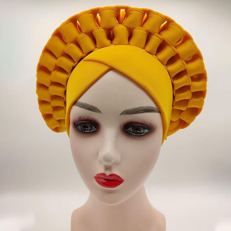 2020 модные свадебные головные уборы простой ручной работы авто Гейл уже изготовленные женские нигерийские африканские головные повязки мус...