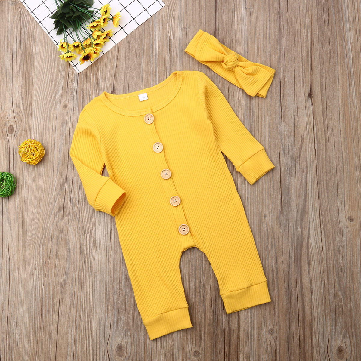Ha023ca38aab94b9f813d7e3299d1d400U Spring Fall Newborn Baby Girl Boy Clothes Long Sleeve Knitted Romper + Headband Jumpsuit 2PCS Outfit 0-24M