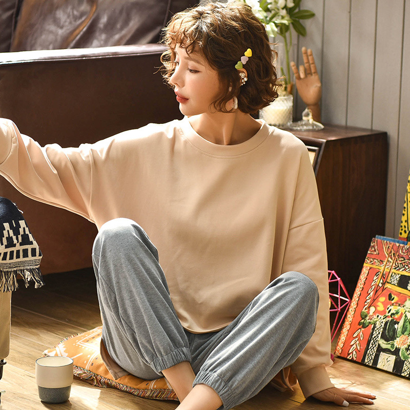 Hot Sale Women Pajamas Set Spring Autumn New Solid Color Long Sleeve Cute Sleepwear Suit Casual Homewear Female Pajamas