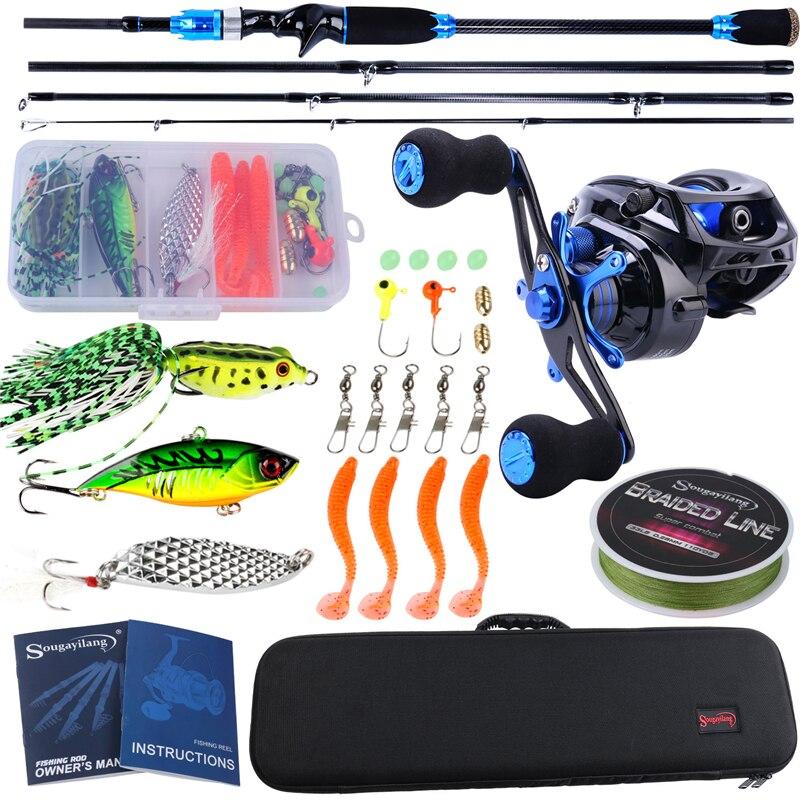Sougayilang Portable Fishing Tackle Rod Bag Combo 4 Section Carbon Fiber Baitcsting Rod 10BB Reel Fishing Line Lures Hooks Combo