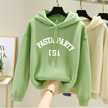 4 Colors Hoodies Women Long Sleeve Letter Winter Pullover Warm Sweatshirts Loose Female Hooded Casual Coat