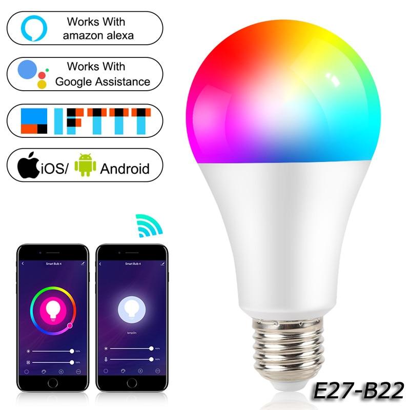 WiFi умный светильник B22 E27 LED RGB лампа работает с Alexa/Google Home AC100 265V RGB + белый Диммируемый таймер функция волшебная лампа Светодиодные лампы и трубки      АлиЭкспресс