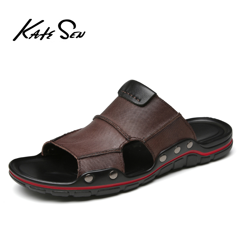 KATESEN New Summer Men's Sandals Soft Leather Slippers Breathable Non-slip Beach Shoes Men's Slippers Zapatos Hombre Men's Shoes
