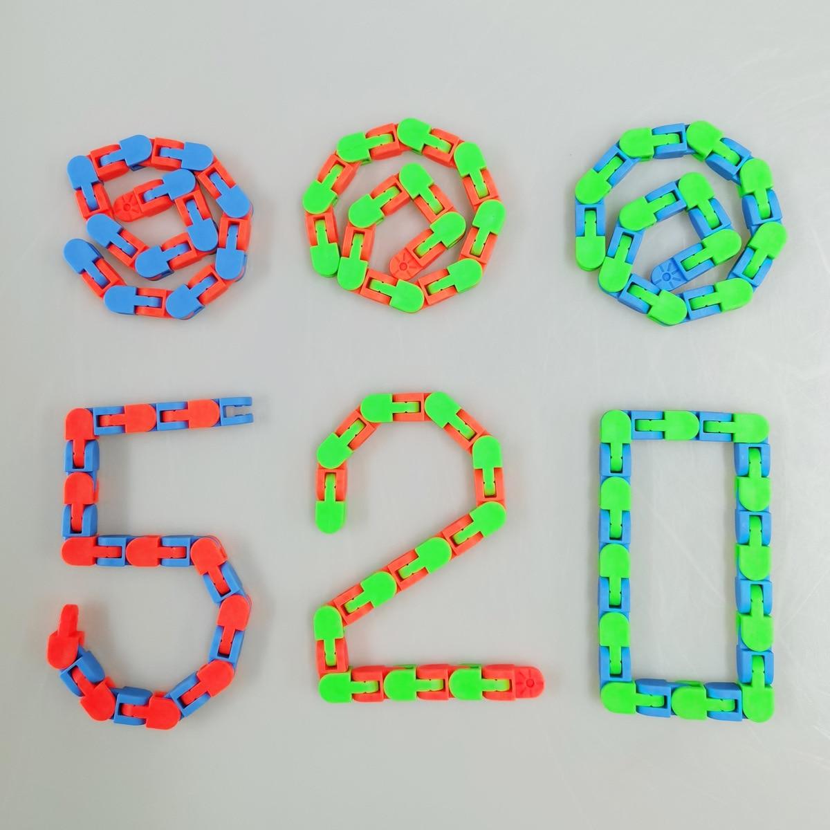 1PCS 48 Knots Fidget Toys Children And Adults Puzzle Decompression 48-Segment Chain DIY Bicycle Chain Toy Fluid Bracelet Sensory img3