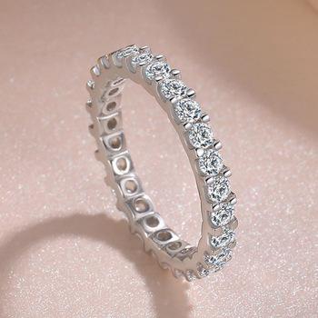 S925 srebrny VS2 diamentowy pierścionek dla kobiet Bizuteria obrączka Anillos De bijoux femme srebrna biżuteria z kamieniami szlachetnymi pierścień anel tanie i dobre opinie HOYON SILVER 925 sterling CN (pochodzenie) Kobiety Diamond Okrągły kształt Excellent 1 5g GDTC Grzywny Napięcie góra