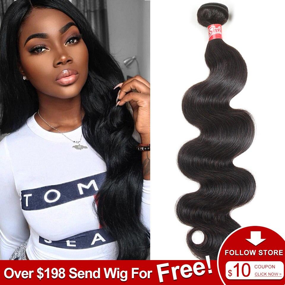 Sleek Brazilian Hair Weave Bundles 8 - 28 30 Inch Brazilian Body Wave Non-Remy Human Hair Extension 1/3/4 Bundle Deals Free Ship