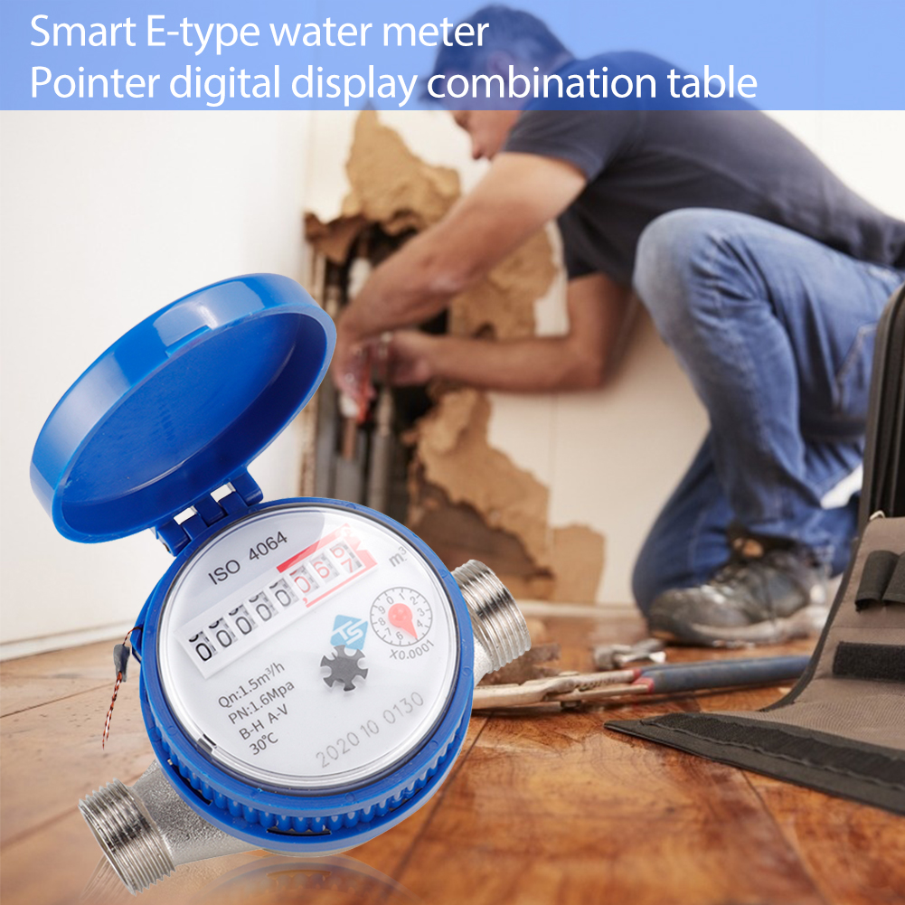 Cold Water Meter for Garden Home Using with Free Fittings 360 Mechanical Rotary Pointer Counter Water Measuring Meter