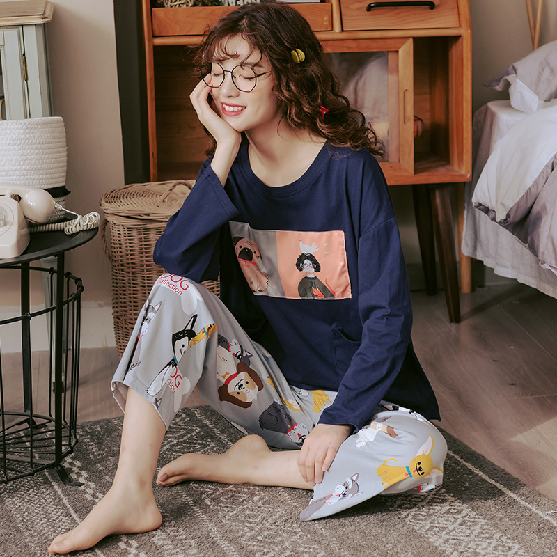 Lovely Animal Pajamas Set Women Plus Size M-3XL Casual Tracksuit Deep Blue Colors O-Neck Sleepwear Cute Dogs Pijamas Para Mujer