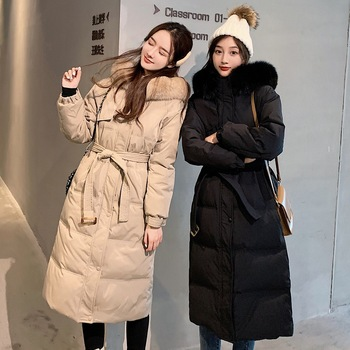Winter Mid-Length Duck Down Jacket Women Coat Warm Plus Size White Winter Coats Real Fox Fur Collar Hooded Slim Puffer Jackets image