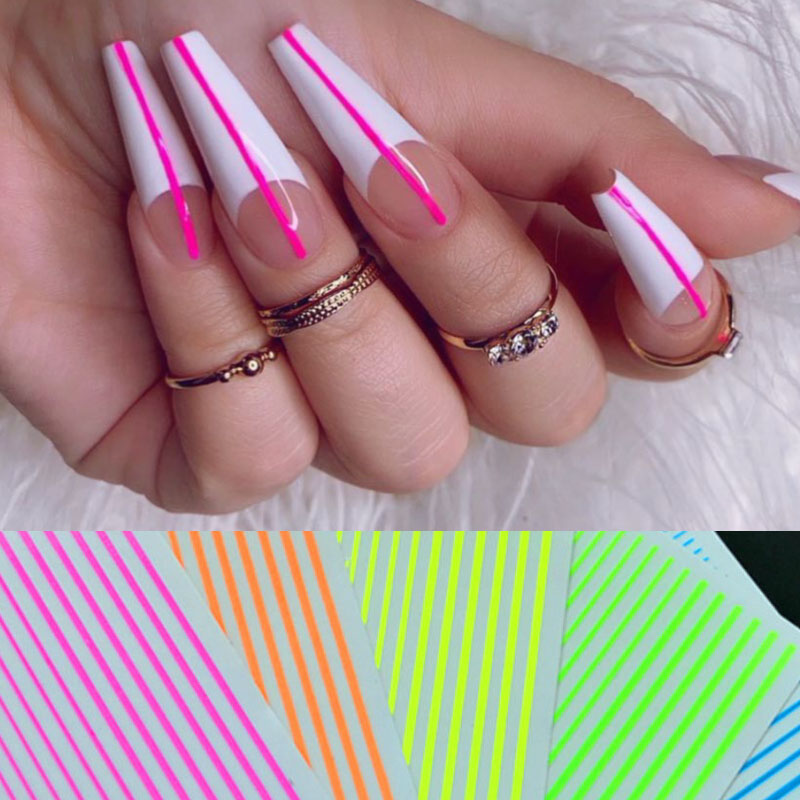 Nail Art 3D Decal Stickers Neon Curve Stripe Lines Self Adhesive Striping Tape Acrylic Nails Tool
