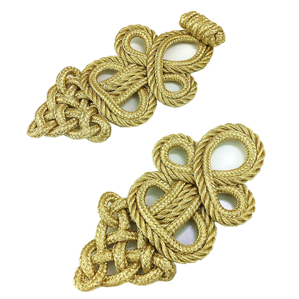 Image 4 - 6set Gold Baroque Frog Fastener Cord Embroidery Closure Chinese Knot Button Retro Applique For Clothing DIY Accessories AC1507Patches   -