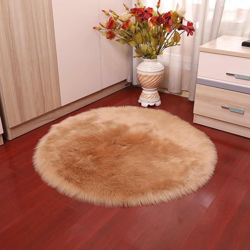 Alfombra de piel sintética de oveja suave de 30x30CM, funda para silla de dormitorio, Alfombra de lana sintética cálida y peluda, alfombras de pelo Textil para asiento