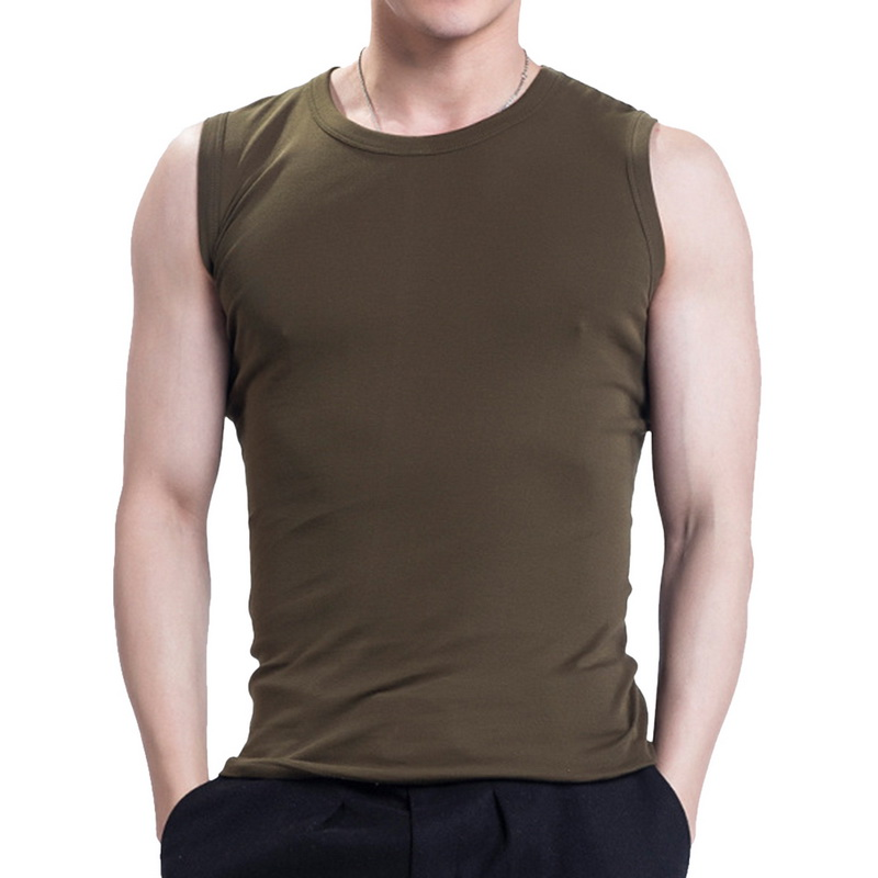 Men's Tank Top Casual Fitness Fashion Tank Top Men Simple Wear Undershirt Solid O-neck Sleeveless Breathable Cotton 2020 Summer
