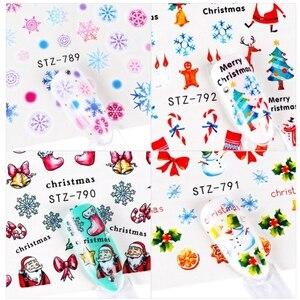 30CS/набор Рождественские Водные Наклейки для ногтей Набор наклеек олень Санта-Снежинка слайдер трафарет для ногтей TipsPolish Маникюрный Инстру...