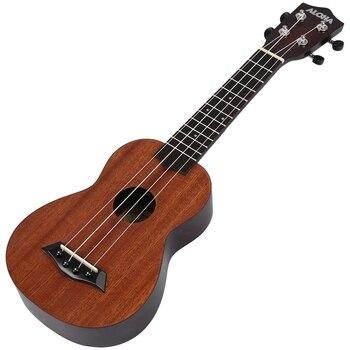 ALOHA 21 Inch Ukulele Beginner Soprano Ukulele Sapele Wood 4 Strings Guitar Mahogany Neck Delicate Tuning Peg kmise classical mahogany 21 inch soprano ukulele neck koa wave shape head ukulele parts