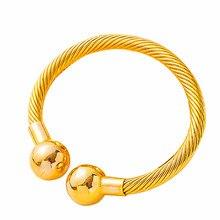 1 stücke 3MM Dubai Armreifen für Frauen Indische Gold Armbänder & Armreifen Kupfer Ball Manschette Armreifen Braut Schmuck