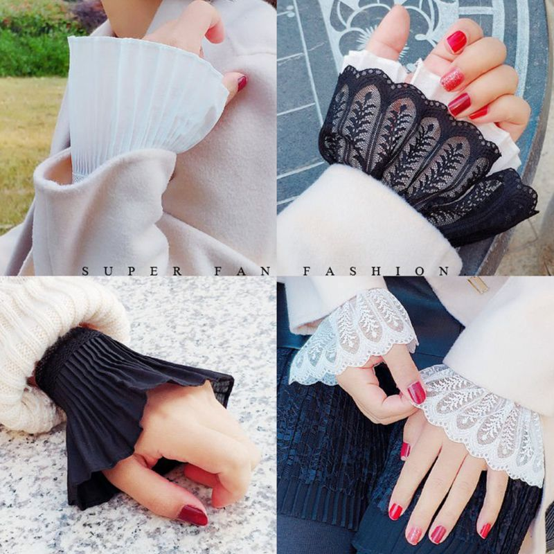 Women Girls Fake Flare Sleeves Floral Lace Pleated Ruched False Cuffs Sweater Blouse Apparel Wrist Warmer With Faux Pearl Button