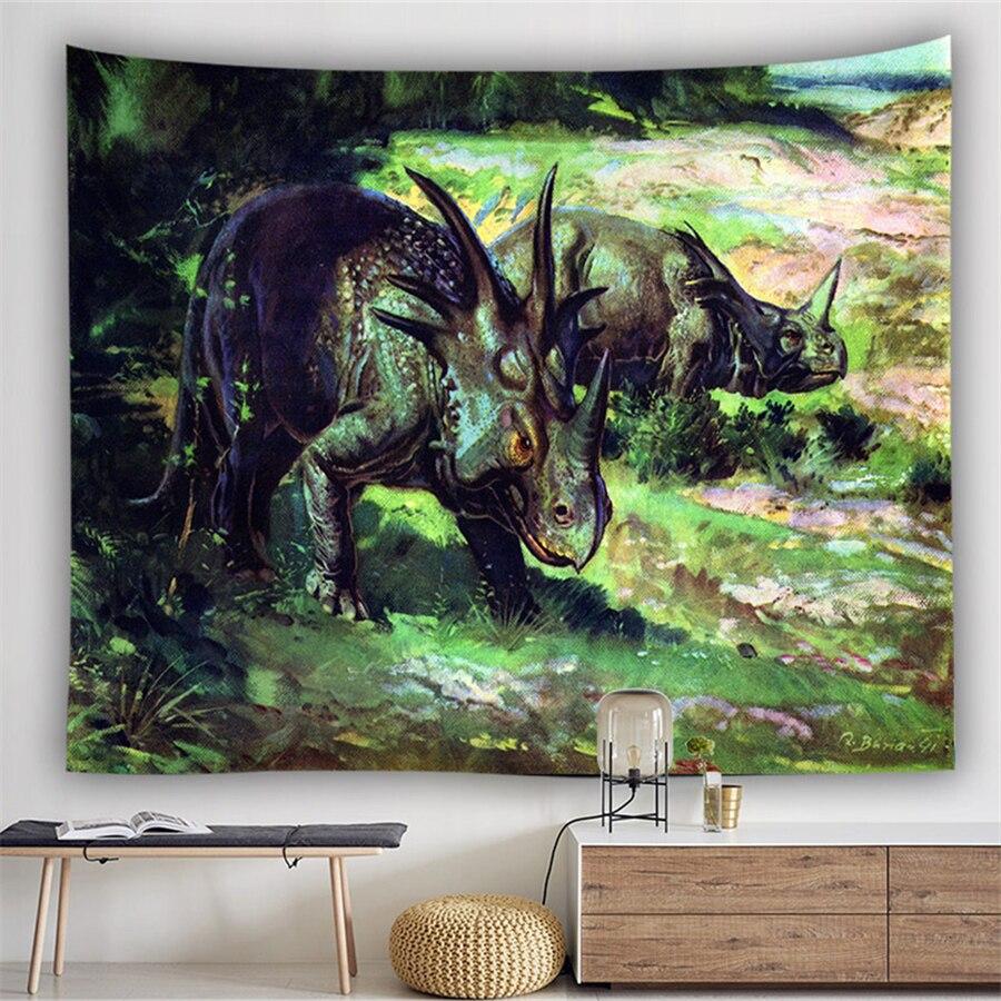 Dinosaur Wall Carpet Tapestry Animal Jurassic Landscape Psychedelic Mural Boho Home Decor Kids Decoration Gifts Travel Blanket