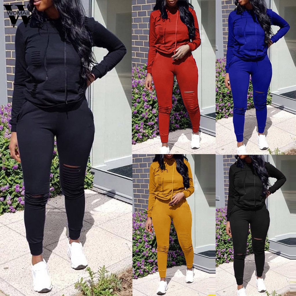 Womail Tracksuit Women Sweatsuit Hooded Casual Hole Pocket For Women Set Hoodies Sweatshirt+2 Pieces Sets Women's Suit Female 82