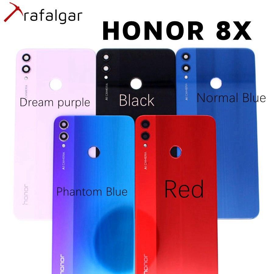 Крышка батарейного отсека для HUAWEI Honor 8X, Задняя стеклянная крышка корпуса, задняя панель с объективом камеры для Honor 8X, Крышка батарейного от...
