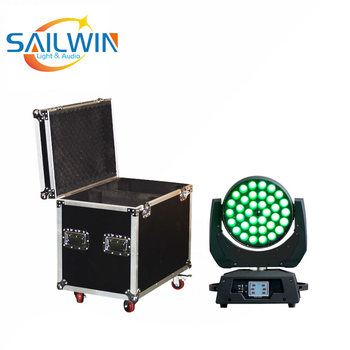 Stage Light-36*18W 6in1 RGBAW UV ZOOM DMX LED Moving Head Wash Light With 2IN1 Flight Case