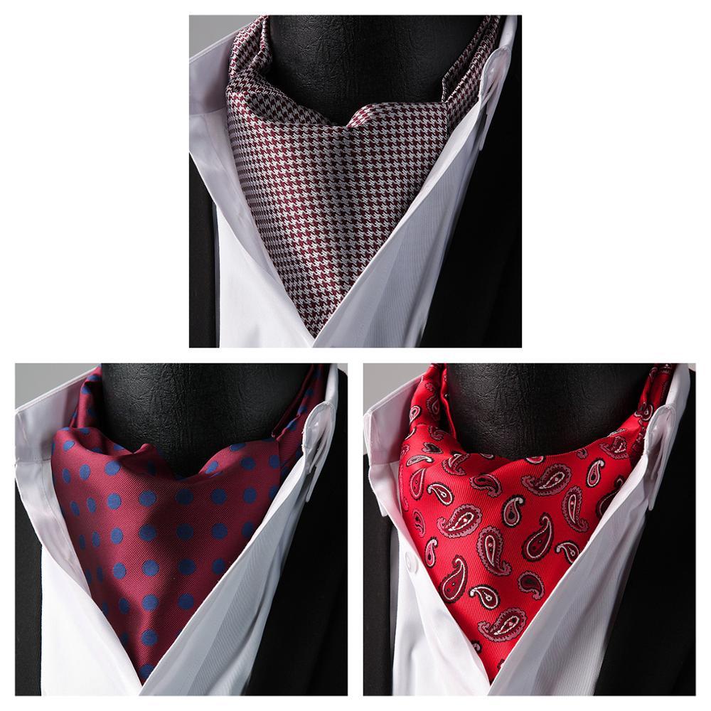 Wedding Party HISDERN Paisley Flora Plaid Ascot Cravat Woven Classic Men's Necktie  3 Pack