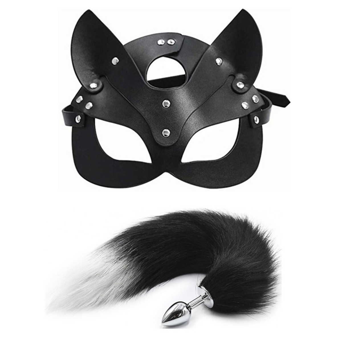 Sexy Cosplay mask Fox Tail Anal Plug Metal Anus Butt Plug Adult Sex Products BDSM Women Stage performance props